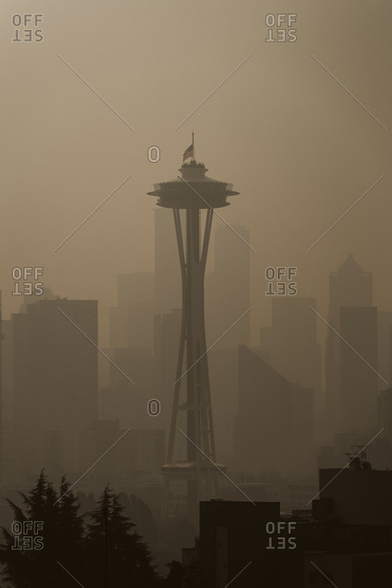 Seattle, Washington, USA - September 11, 2020: Haze from wildfires over the Seattle skyline and the Space Needle