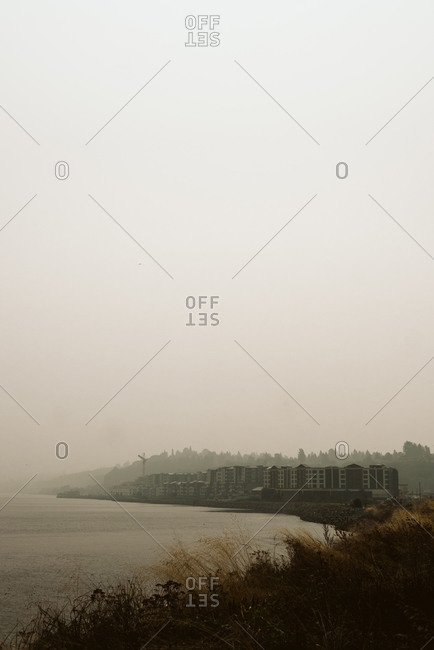 Wildfire haze over the coast of Seattle Washington