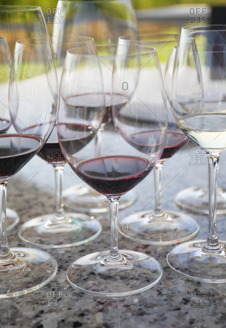 Wine tasting glasses at a vineyard, Osoyoos town, British Columbia, Canada