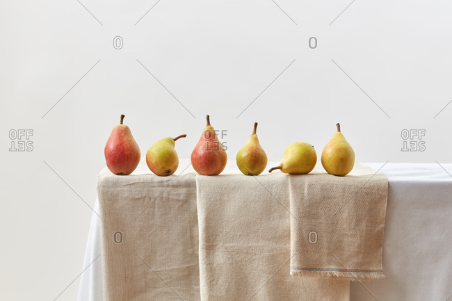 Sweet juicy natural pears fruits on a table.