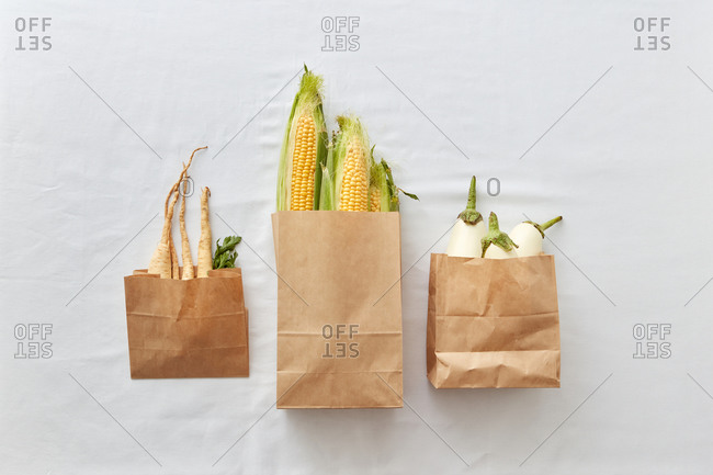Three paper eco bags with roots and fresh vegetables.