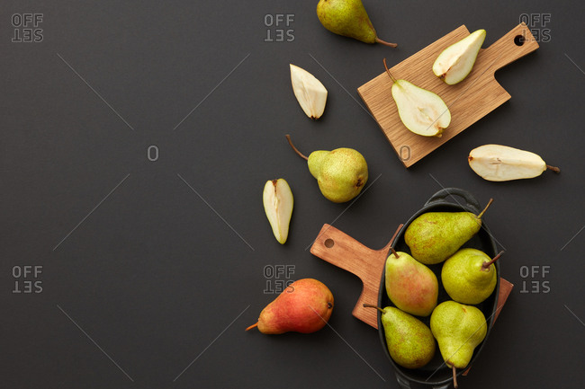 Freshly picked fresh natural ripe pears on the boards.