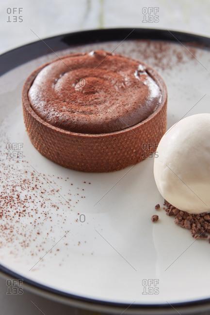Chocolate souffle tart with cardamon ice cream.