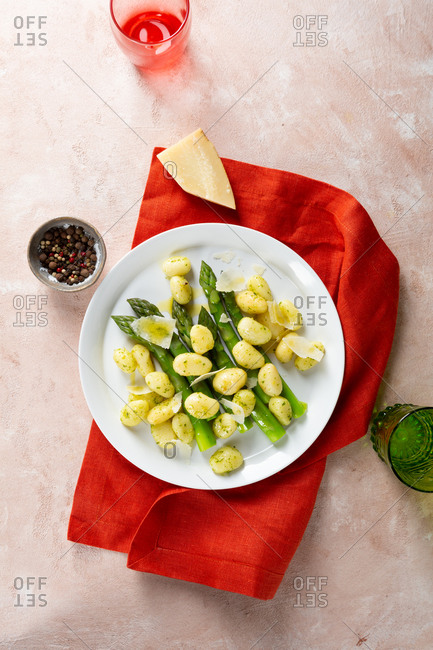 Overhead view of asparagus and gnocchi