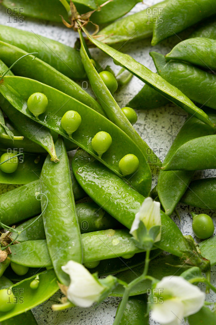Close up of fresh green peas, organic produce