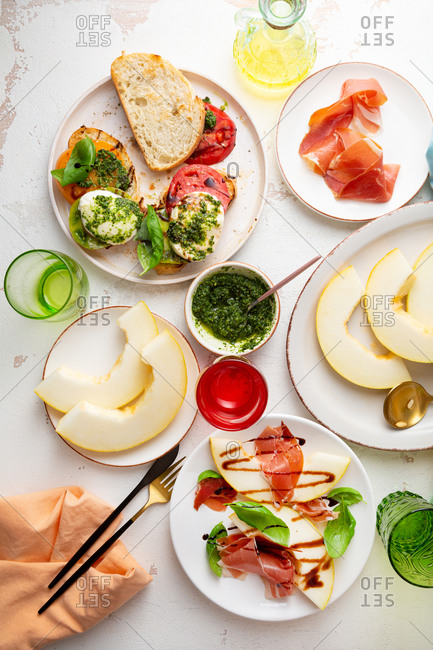 Melon salad and caprese salad from above