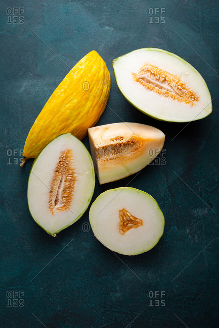 Overhead view of ripe melons