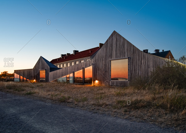 Raa, Sweden - August 14, 2020: Exterior of the Raa Day Care Center and Preschool at dusk