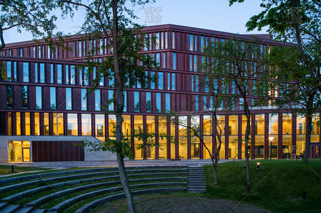 Lund, Sweden - May 2, 2020: Exterior of the Lund Courthouse with lights illuminated