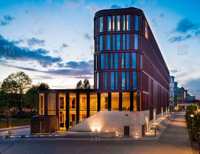 Lund, Sweden - May 2, 2020: Exterior view of the Lund Courthouse at dusk