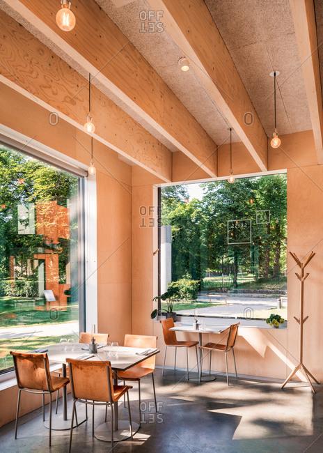 Lund, Sweden - June 13, 2020: interior of restaurant at Museum Of Sketches