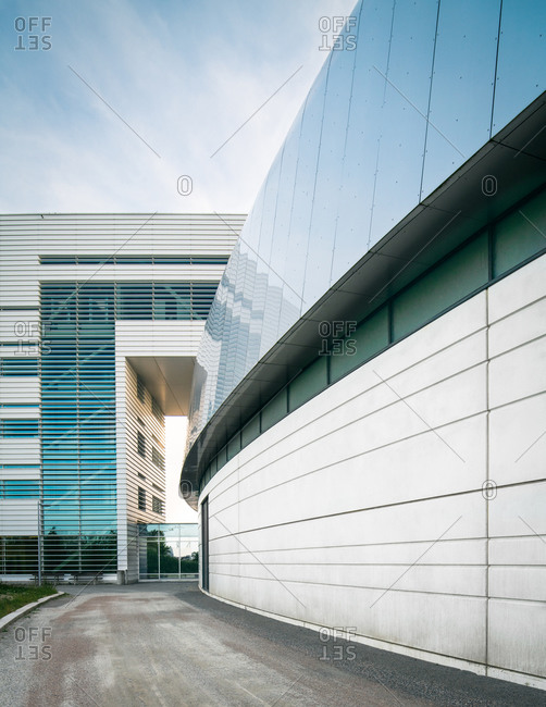Lund, Sweden - June 13, 2020: Modern facade of the Max IV Laboratory