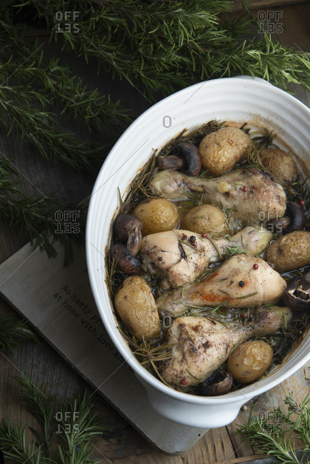 Rosemary roasted chicken with potatoes and mushrooms