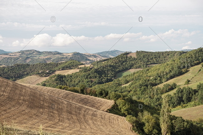 View over countryside in the Marche region of Italy