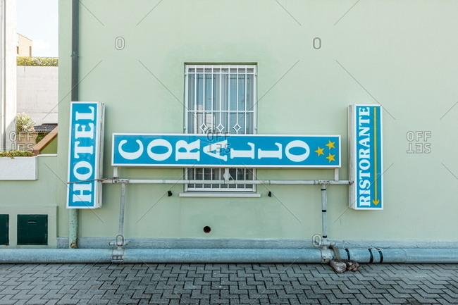Fano, Marche, Italy - August 6, 2020: Hotel Corallo and Ristorante exterior