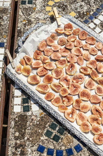 Dry figs on a tray, Marche, Italy