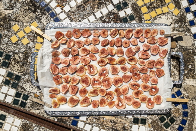Dried figs on a tray, Marche, Italy