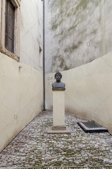 Sassocorvaro, Marche, Italy - August 8, 2020: Statue depicting Francesco di Giorgio Martini at the entrance of the Rocca Ubaldinesca