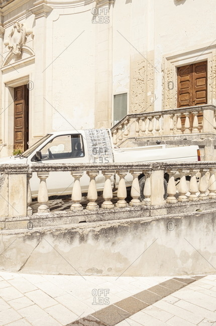 White truck parked by old building in Pennapiedimonte, Abruzzo, Italy