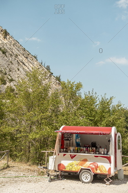 Fara San Martino, Abruzzo, Italy - August 10, 2020: Colorful food and drink stand on roadside
