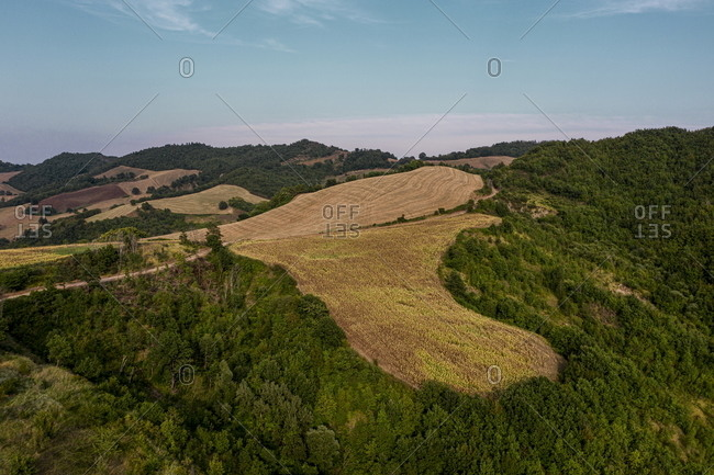 Vast countryside and rolling hills in rural Piandimeleto, Marche, Italy