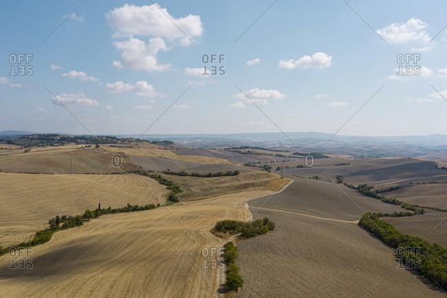 Vast farmland in rural Lajatico, Italy