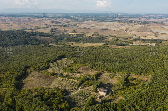Bird's eye view over the countryside of Lajatico, Italy