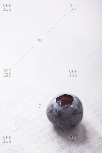 A single homegrown blueberry on light surface with copy space