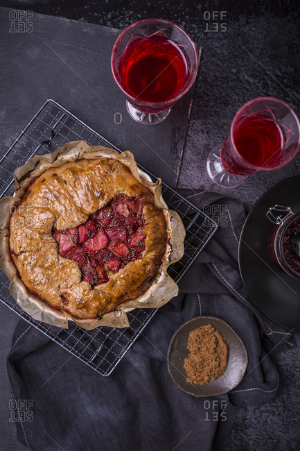 Fresh baked strawberry galette with vanilla bean and chia seeds