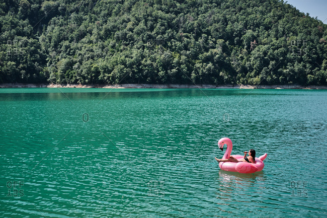 Relaxed female with bottle of refreshing drink lying on inflatable ring in shape of flamingo and floating on lake during summer vacation
