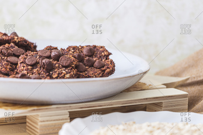 Freshly baked oatmeal and banana cookies on a plate. Still life concept