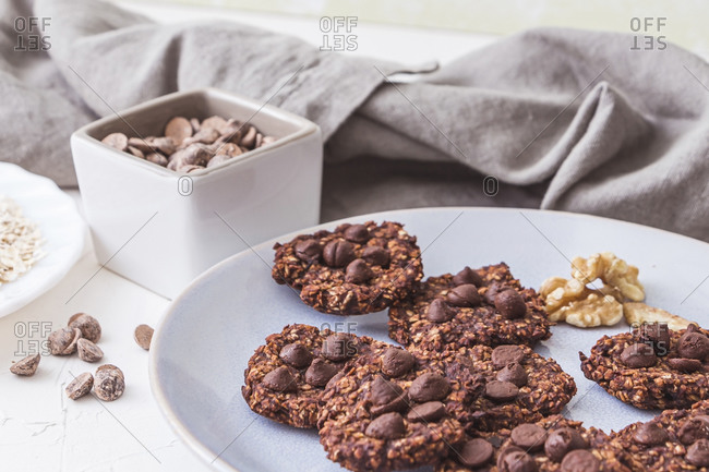 Sugartree freshly baked oatmeal cookies on a ceramic plate