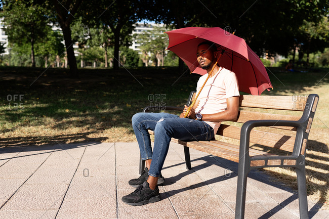 Peaceful African American male sitting under umbrella on wooden bench in park and enjoying weather on sunny day in summer