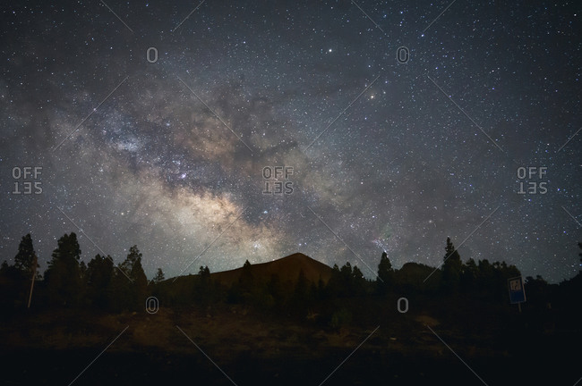 Low angle of glowing starry sky with Milky Way over forest in highland area in long exposure