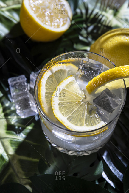 Top view of glass of cold refreshing alcohol drink with ice cubes garnished with lemon slice and placed on table in bar