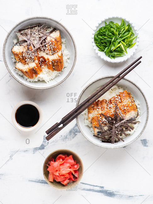 Eel with rice served in ceramic bowls with soy sauce over white background
