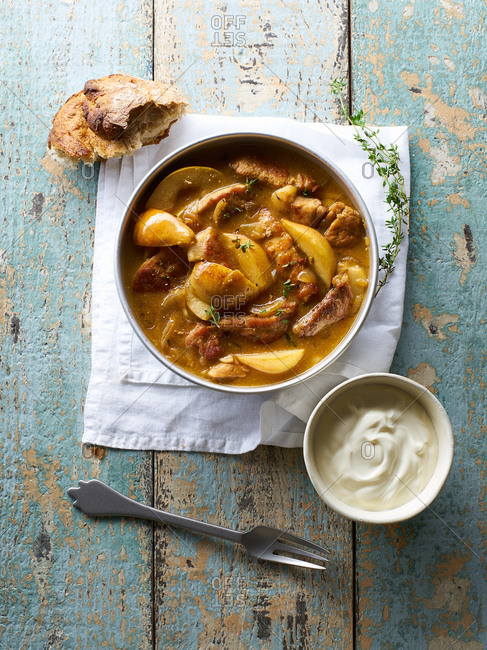 Pork and pear stew cooked with herbs and cider