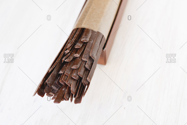Chocolate cocoa pretzel sticks ready to eat