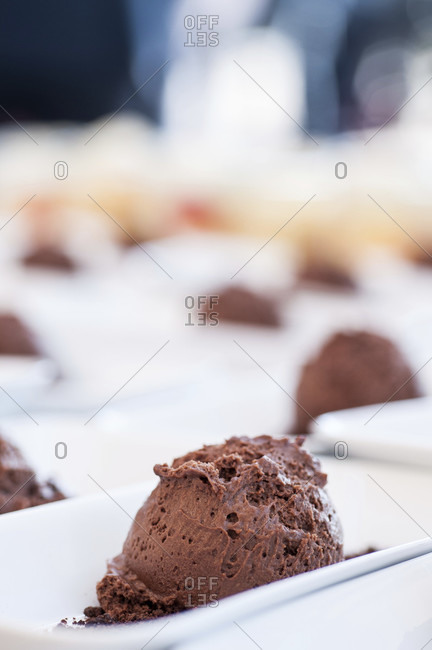 Mousse au Chocolate set out on a platter