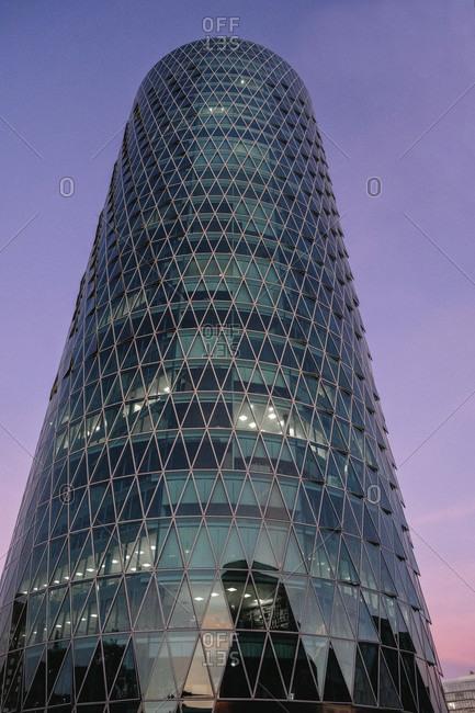 September 26, 2018: Hochaus Westhafen Tower in Frankfurt, Hesse, Germany