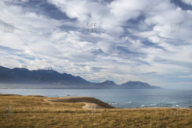 View over the coastline at Kaikoura Mountains, Canterbury, New Zealand