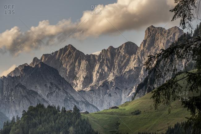 Alpine pastures in the mountains, Berchtesgaden, Berchtesgadener Land, Upper Bavaria, Bavaria, Germany, Alps, mountains, Berchtesgadener Berge,