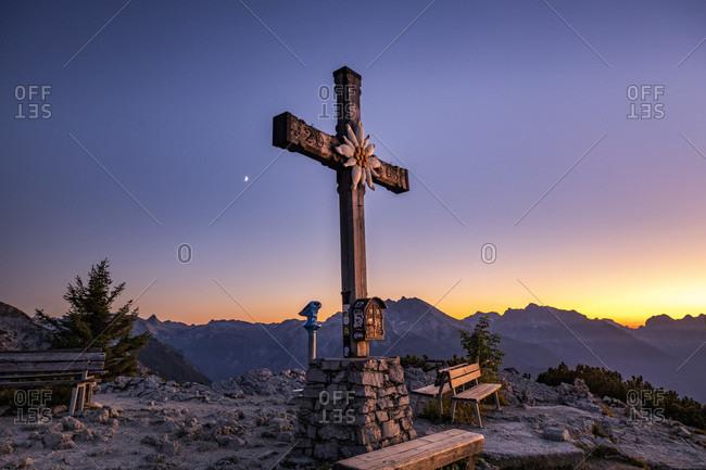 Summit cross at Kehlstein in the sunset, Berchtesgaden, Berchtesgadener Land, Upper Bavaria, Bavaria, Germany,