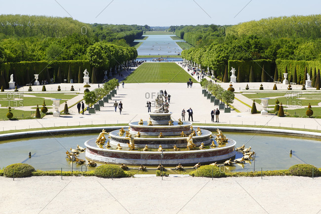May 14, 2019: France, Versailles Palace, castle park, fountain, tourists