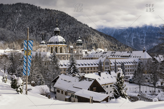 January 9, 2017: Elevated view on Ettal Abbey, a Benedictine monastery in winter, Ettal, Upper Bavaria, Bavaria, Germany