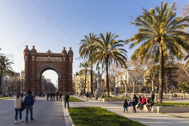 February 21, 2017: Arc de Triomf, Triumphal Arch, Passeig Lluis Company's, Barcelona, Catalonia, Spain