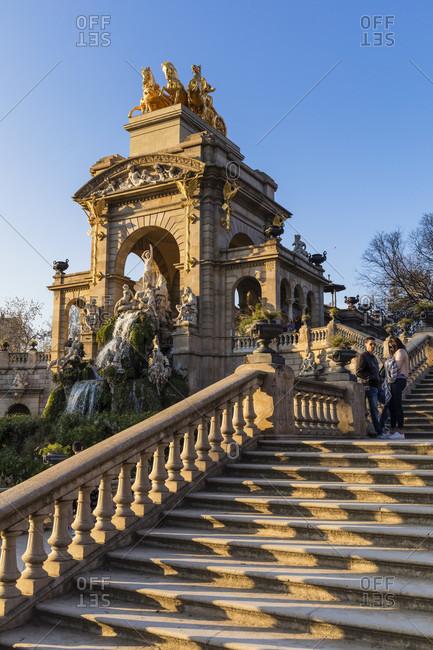 February 21, 2017: Golden Quadriga de aurora on the Cascada Monumental and stairs at Parc de Ciutadella, Barcelona, Catalonia, Spain