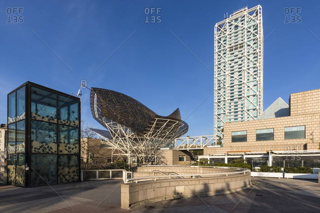 February 22, 2017: Skyscraper and sculpture 'El Peix' (The Fish) of architect Frank Gehry, Port Olympic, Barcelona, Catalonia, Spain