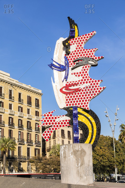 July 20, 2019: Sculpture El Cap de Barcelona (Head of Barcelona) by American pop artist Roy Lichtenstein for the 1992 Summer Olympics, Barcelona, Catalonia, Spain