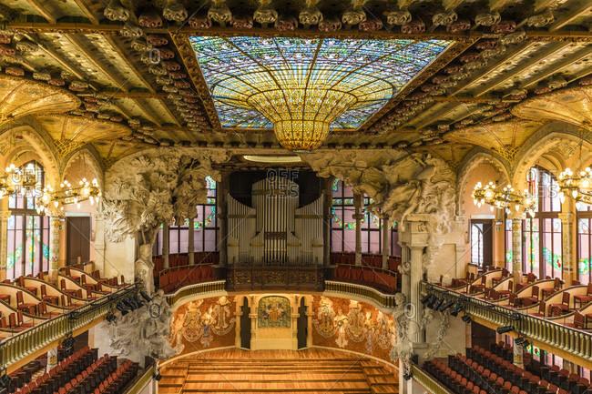February 23, 2017: Palau de la Musica Catalana, interior view of the stage, UNESCO World Heritage Site, Old City, Barcelona, Catalonia, Spain